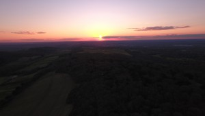 Sunset toward Guildford from Newlands Corner
